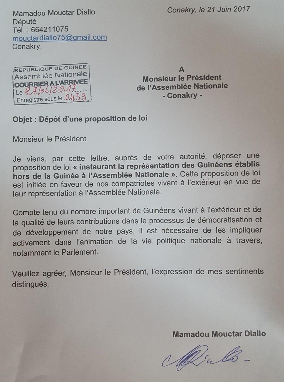 """proposition de loi """" instaurant la représentation des guinéens établis hors de la Guinée à l'Assemblée Nationale """"."""