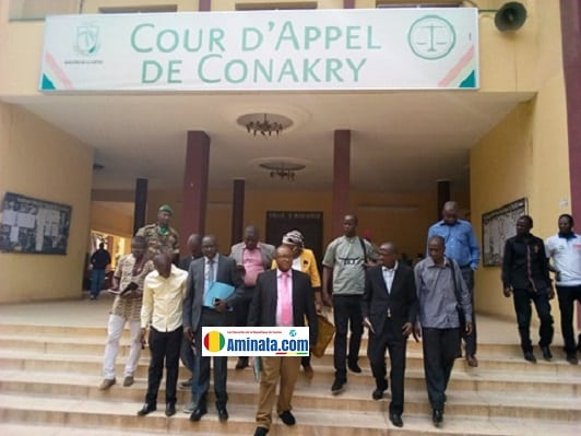 A la cour d'appel de Conakry non loin du ministère de lajustice où la presse a déposé une plainte contre la gendarmerie de Matam