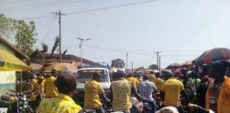 Le marché central de Siguiri bondé des taxi-motos (photo d'archive)