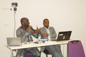 Fodé Sylla, modérateur de la cérémonie de lancement avec Mouslihou Diallo, membre de MiloTek Guinée