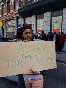 Une manifestante guinéenne en Belgique