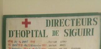 Tableau d'honneur de l'hôpital préfectoral de Siguiri