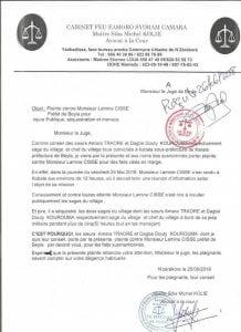 Copie d'une plainte contre le préfet de Beyla
