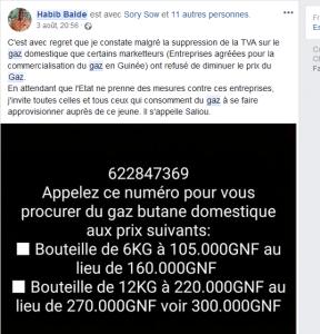 Capture d'écran sur le compte Facebook du députée Habib Baldé