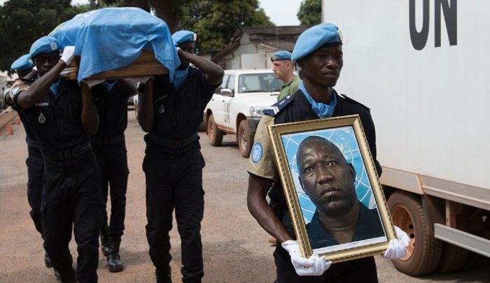 La dépouille mortelle du capitaine Amirou Diallo décédé à Bangui, Centrafrique, le 25 août