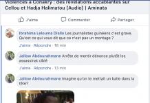 Une capture d'écran d'une menace de mort contre Alpha Oumar Diallo, journaliste à Aminata.com
