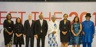 Tony Elumelu avec Ifeyinwa Ugochukwu, Parminder Vir, Shimon Ben-Shoshan, ambassadeur d'Israël au Nigéria; Son Excellenc Aisha Buhari