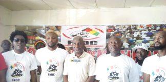 De la droite à gauche Fadjidi, Djani Alpha Abdourahamane Sanoh leader de la PCUD et fer de lance contre le 3e mandat, Bill de Sam, ...