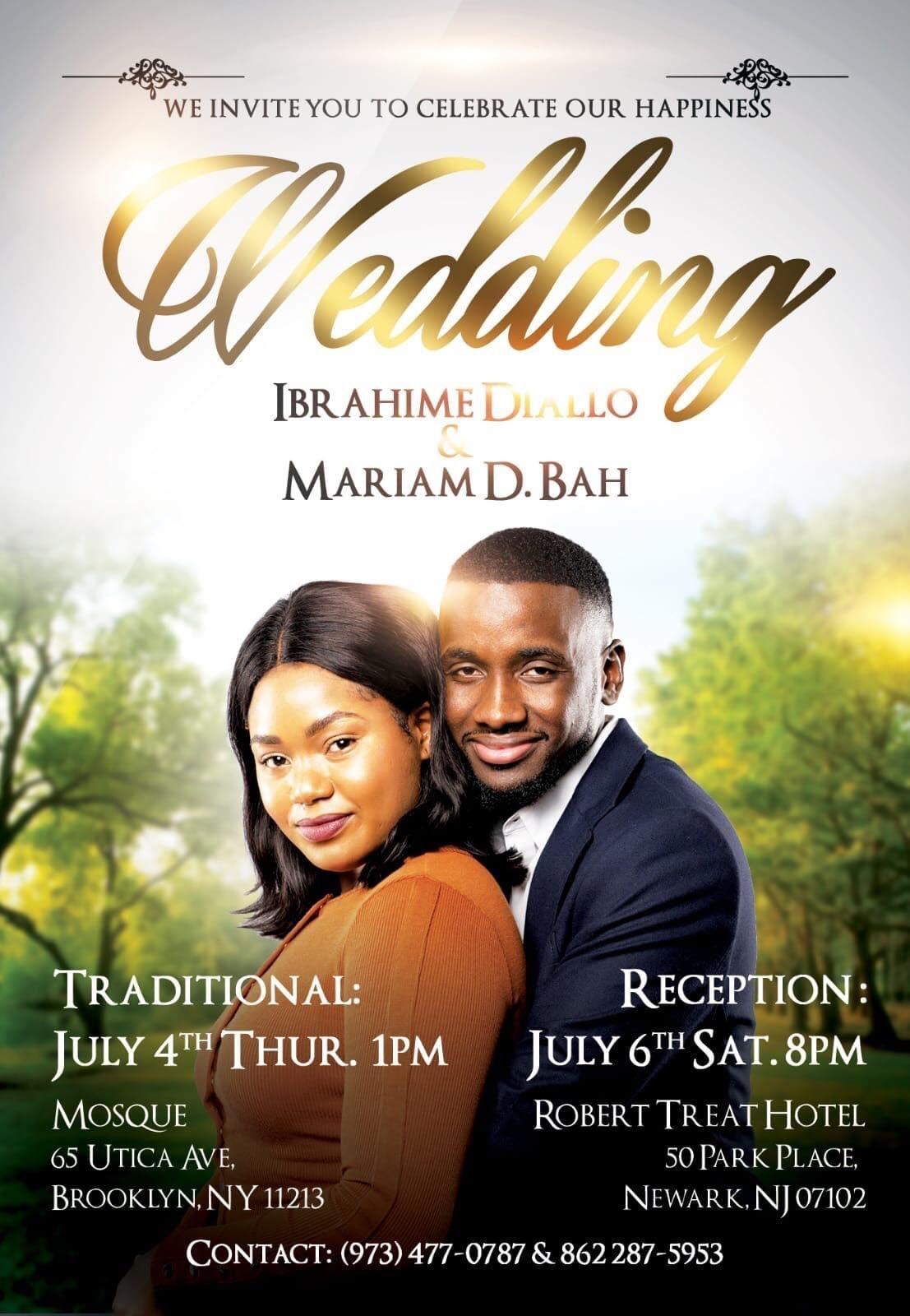 Carte faire part du mariage entre Ibrahima Diallo et Mariam Bah