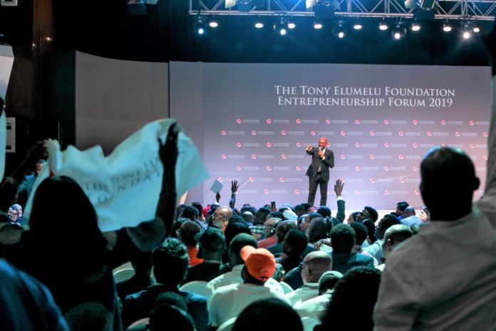 Tony Elumelu lors du forum sur l'entrepreneuriat (TEF2019)