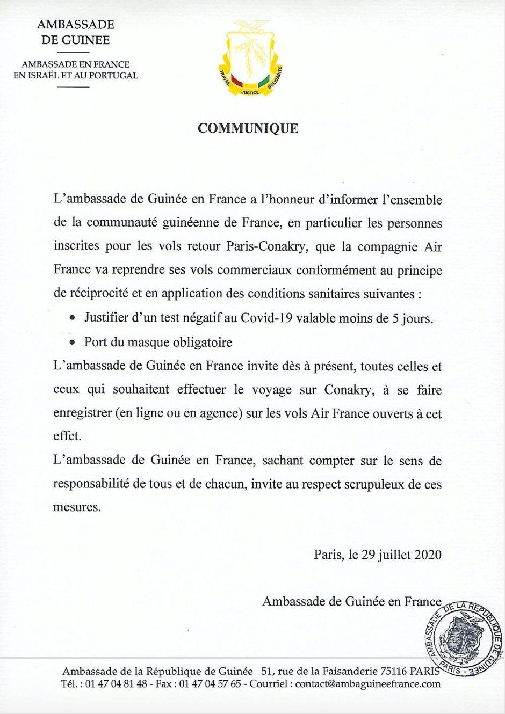 Communiqué - Vol retour Paris-Conakry