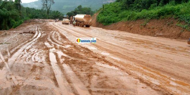Mauvais état de la route du tronçon Coyah-Kouriah