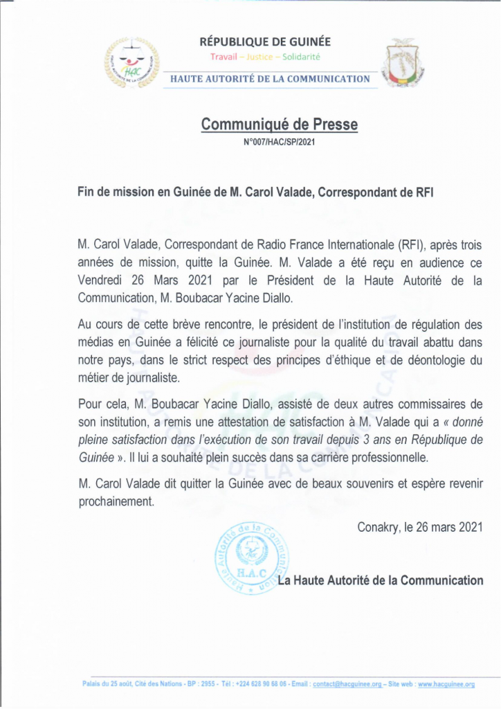 Médias- Carole Valade, correspondant de RFI, quitte la Guinée